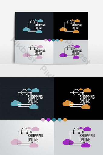 Logotipo de compras en línea en icono de diseño de nube para ilustrador de vector de plantilla empresarial Elementos graficos Modelo AI