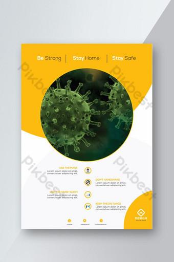 Diseño de plantilla de volante de virus corona amarillo moderno creativo Modelo AI