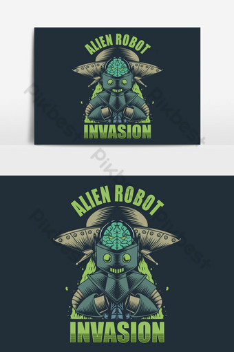 Ilustración de vector de invasión de robot alienígena Elementos graficos Modelo EPS