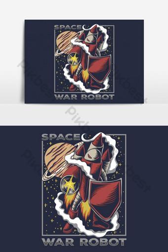 Ilustración de vector de robot de guerra espacial Elementos graficos Modelo EPS