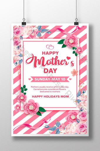 listras cor de rosa tornam-se design de pôster do dia das mães Modelo PSD