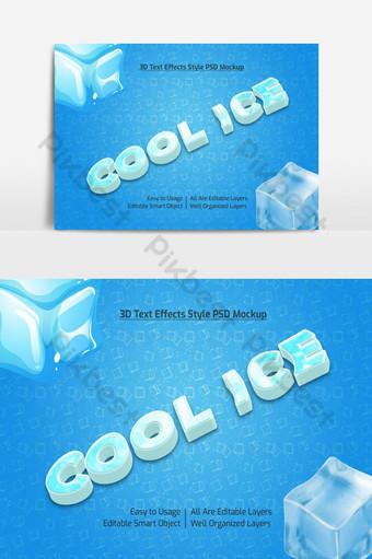 hielo fresco 3d texto fresco estilo de fuente maqueta de efecto psd premium Elementos graficos Modelo PSD