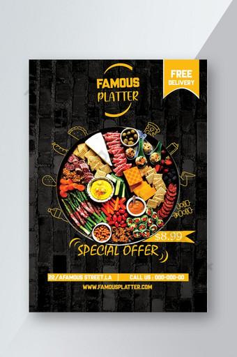 Conception de flyer alimentaire pour l'offre de promotion du plateau avec téléchargement gratuit de deux couleurs Modèle PSD