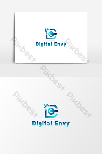 tecnología digital vector letra de logo inspiración Elementos graficos Modelo AI