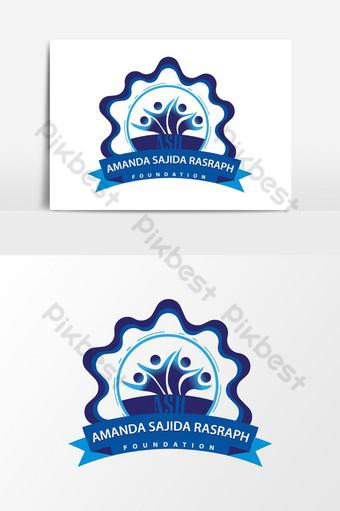 logotipo de la fundación comunitaria de color azul Elementos graficos Modelo AI