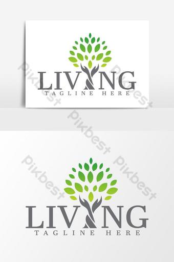 logotipo de la marca de seguros de árboles verdes Elementos graficos Modelo AI