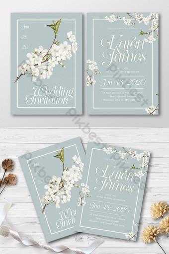 Ensemble complet beau fond vintage et invitation de mariage de fleurs de cerisier blanc Modèle AI