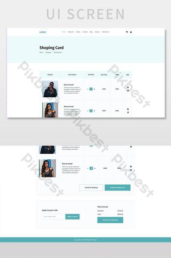 plantilla psd de la página interior de la tarjeta de compras UI Modelo PSD