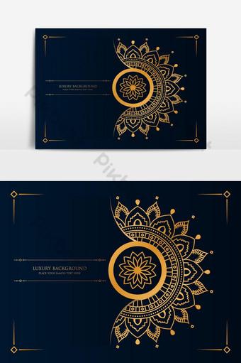 Fondo de mandala de lujo con color azul dorado. Elementos graficos Modelo AI