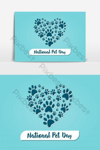 diseño creativo del vector del día nacional del animal doméstico en forma de corazón de la pata Elementos graficos Modelo AI