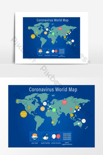 Élément créatif élégant carte du monde pays coronavirus concept design graphique Éléments graphiques Modèle EPS