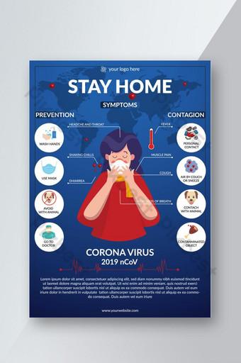 covid 19 nuevo coronavirus prevención de concientización info gráficos flyer eps Modelo EPS