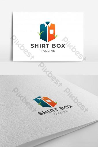 قميص إبداعي وتصميم شعار الصندوق مع قالب ناقل الورقة الخضراء eps 10 قالب EPS