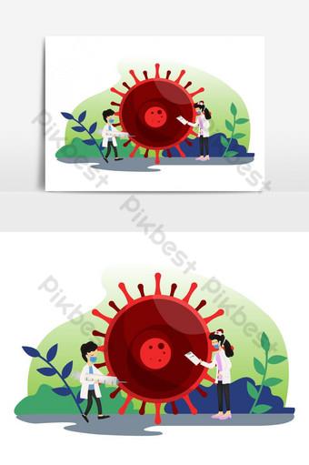 비상 코로나 19 두 의사가 코로나 바이러스 전염병 세계를 분석했습니다. 일러스트 템플릿 EPS