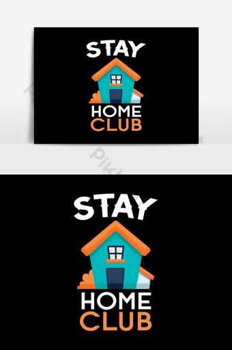 البقاء في المنزل نادي الطباعة خلفية النص ملصق تي شيرت التوضيح ناقلات فن التصميم صور PNG قالب EPS