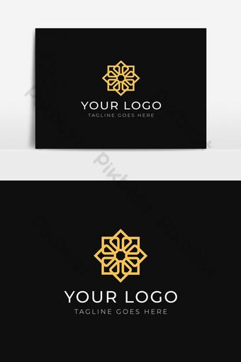 Plantilla de diseño de logotipo de icono de lujo de patrón abstracto para marca de spa de ropa boutique Elementos graficos Modelo AI