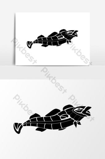 vector de pez silueta negra Elementos graficos Modelo AI
