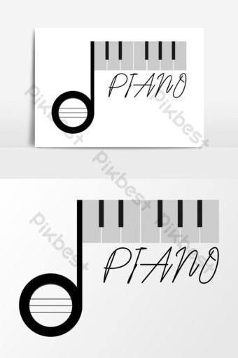 diseño de logotipo de música elemento gráfico de vector de logotipo de piano Elementos graficos Modelo AI