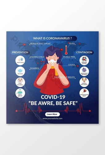 COVID 19 Nouveau graphique d'information sur la prévention du virus Corona Bannière de publication sur les réseaux sociaux restreints Modèle EPS