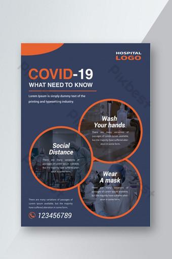 Dépliant médical de camping de santé de virus de Coronavirus Covid 19 Modèle AI