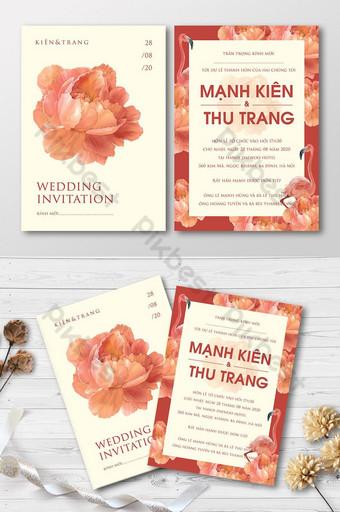 Ensemble complet de belles aquarelles brillantes avec carte d'invitation de mariage pivoine en fleurs Modèle AI