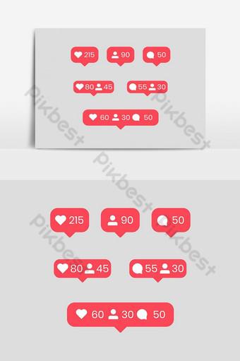 أيقونات إشعارات الوسائط الاجتماعية مثل رمز متابعة التعليق صور PNG قالب EPS