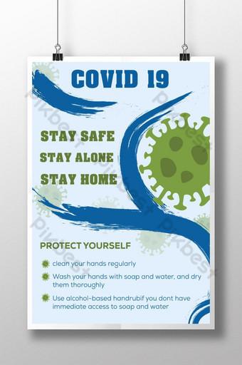 Projekt szablonu plakatu COVID 19 Szablon AI