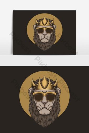 Ilustración de vector de cabeza de corona de rey león Elementos graficos Modelo EPS