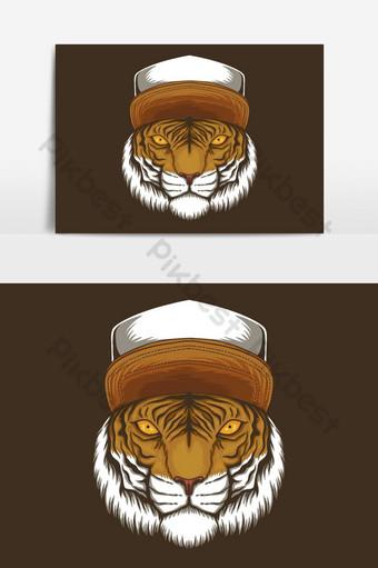 Ilustración de vector de sombrero de tigre Elementos graficos Modelo EPS