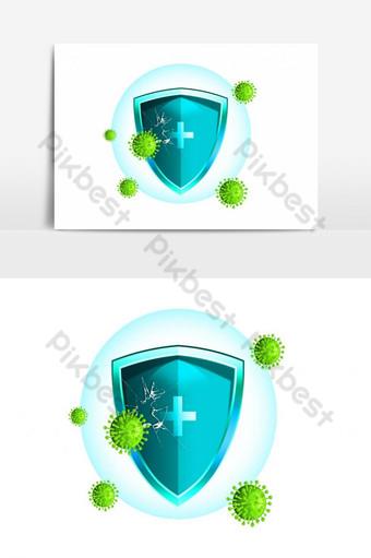 maravilloso elemento de escudo para proteger covid 19 Elementos graficos Modelo PSD