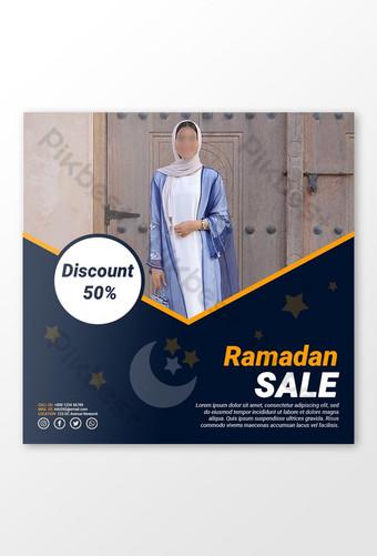 spanduk promosi diskon busana ramadan kareem kreatif Templat PSD