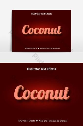 Hiệu ứng văn bản có thể chỉnh sửa vector dừa với nền gradient Công cụ đồ họa Bản mẫu AI