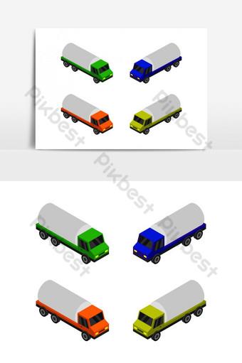 Icono de camión cisterna isométrico ilustrado en vector sobre fondo blanco. Elementos graficos Modelo EPS