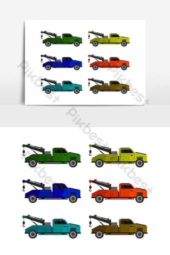 Icono de camión de remolque ilustrado en vector sobre fondo blanco. Elementos graficos Modelo EPS