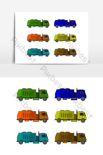 Icono de camión de basura ilustrado en vector sobre fondo blanco. Elementos graficos Modelo EPS