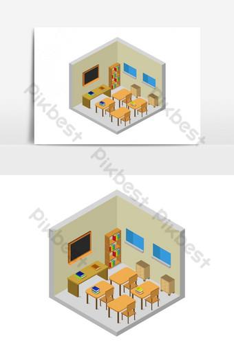 sala de la escuela isométrica ilustrada en vector sobre un fondo blanco Elementos graficos Modelo EPS