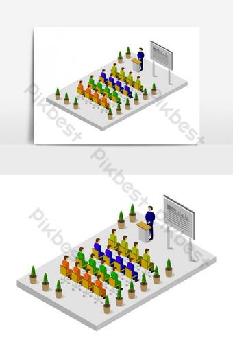 Sala de conferencias isométrica ilustrada en vector sobre fondo blanco. Elementos graficos Modelo EPS
