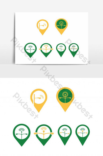 Creative Location Pin Icon, Logo Set with Street Lamp Post, Street Light and Antenna PNG Images Template EPS