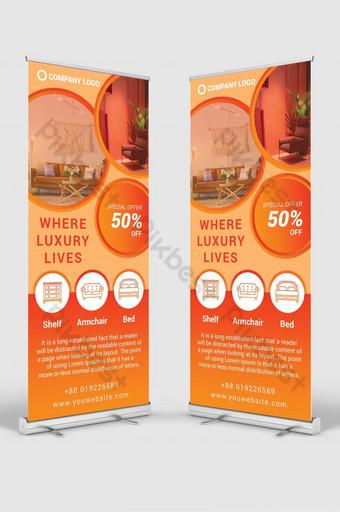 tienda de muebles enrollar señalización banner diseño plantilla maqueta psd Modelo PSD