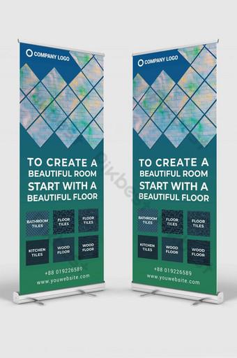 tienda de azulejos enrollar señalización banner diseño plantilla maqueta psd Modelo PSD