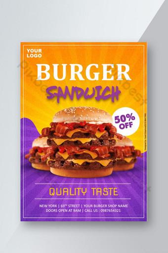 flyer promocional de hamburguesa creativa photoshop Modelo PSD