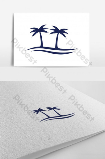 : Hawaii Coconut, Palm Tree and Ocean Wave Minimal Flat Solid Vector Template EPS10 with M Template EPS