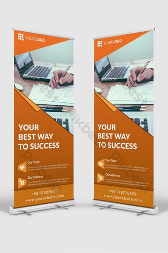 maqueta de plantilla de diseño de banner de señalización enrollable de negocios corporativos psd Modelo PSD