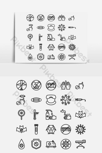 arte em linha preta covid 19 corona virus icon set Elementos gráficos Modelo EPS