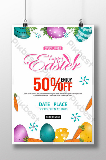 Happy Easter Day Festival Sell Poster Template PSD