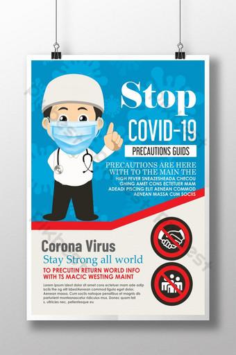 plantilla de póster de medidas de seguridad del virus corona Modelo PSD