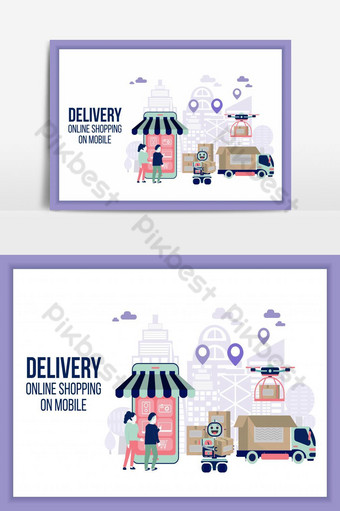 Online delivery shopping on mobile flat design with concept truck and robot service. PNG Images Template AI