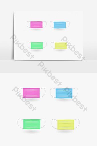 Elemento gráfico de máscara quirúrgica colorida 3d Elementos graficos Modelo EPS