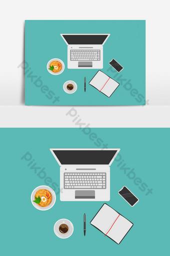 مساحة العمل في المنزل في عنصر نمط مسطح صور PNG قالب EPS