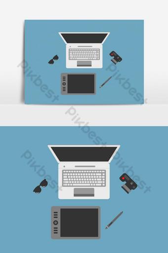مساحة عمل الفنان في عناصر نمط مسطح صور PNG قالب EPS